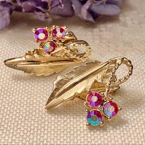 Vintage Raspberry Aurora Borealis Clip Earrings